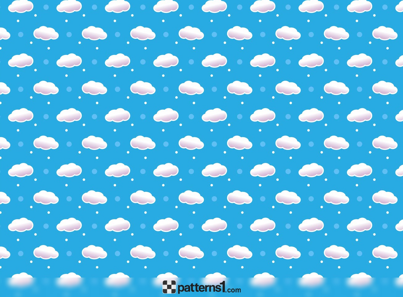 White Clouds Clipart Patterns on Blue Sky.