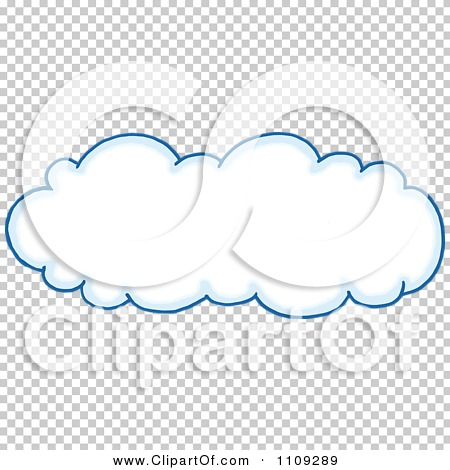 Clipart Blue Outlined Puffy White Cloud.