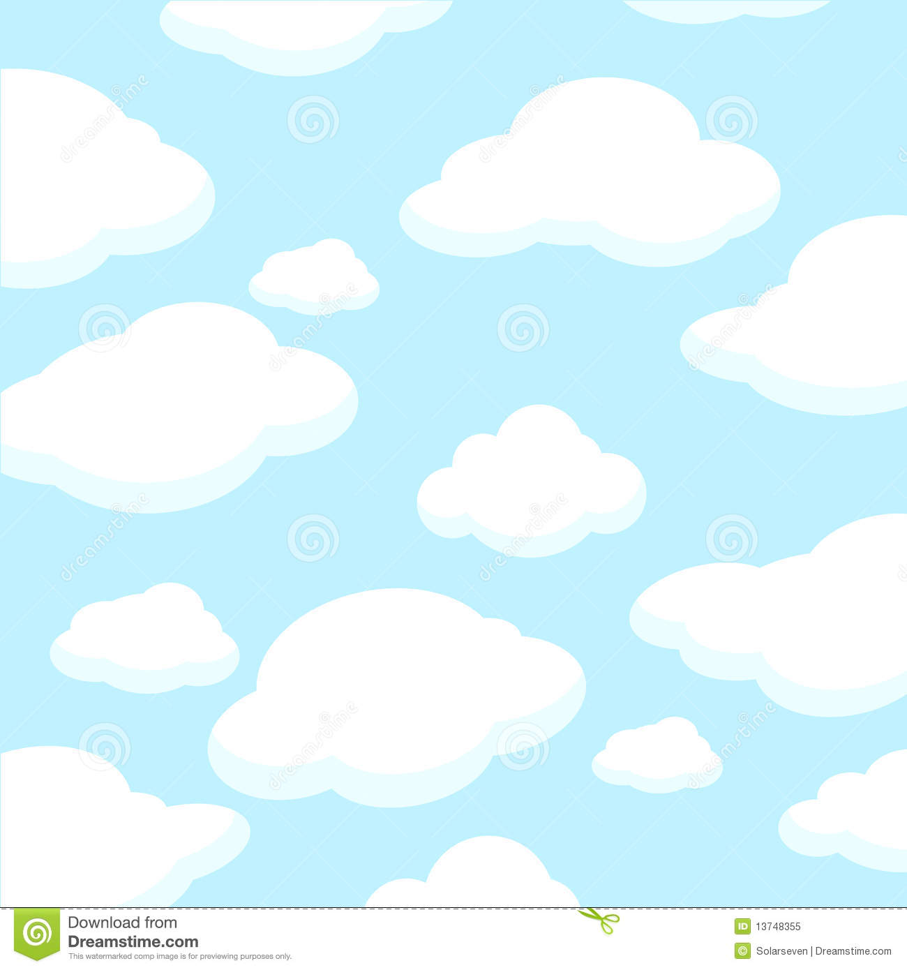 Fluffy White Clouds Clip Art.