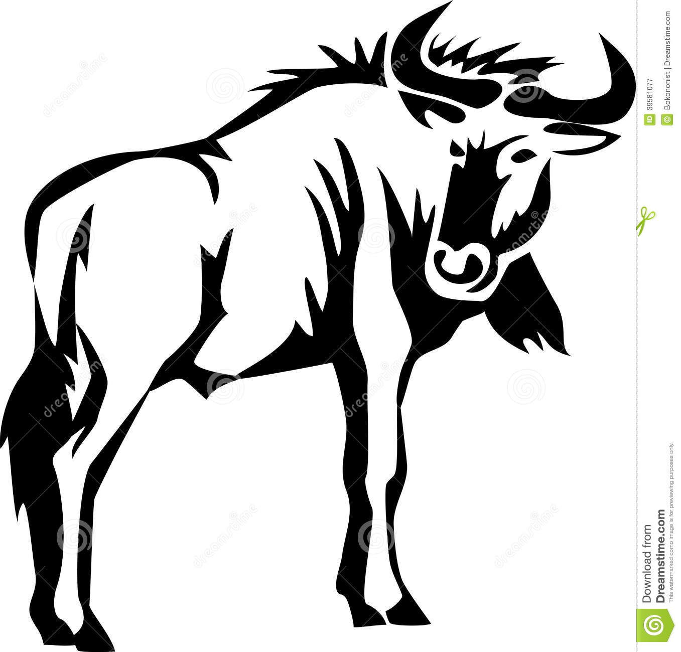 Wildebeest Stock Illustrations.