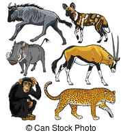 Blue wildebeest Clip Art Vector Graphics. 9 Blue wildebeest EPS.