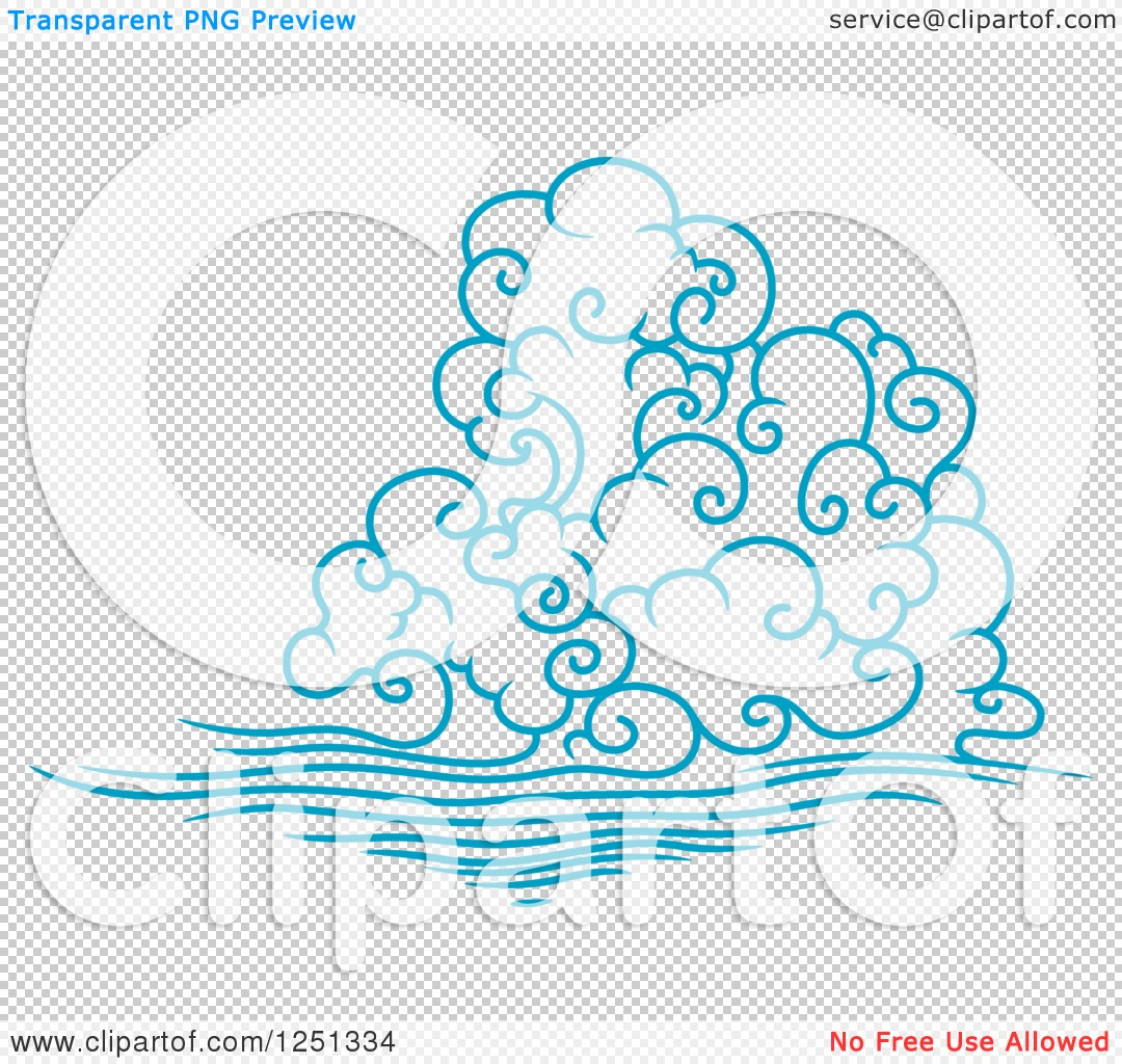 Clipart of a Blue Wind or Cloud 2.