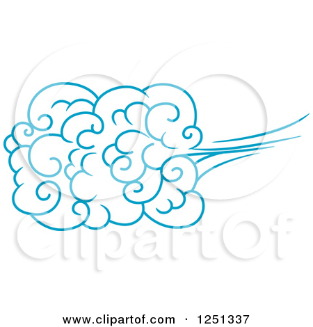 Clipart of a Blue Wind or Cloud 5.