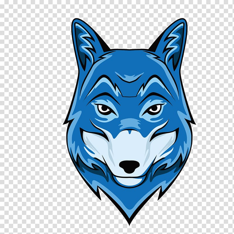 Gray wolf Illustration, blue wolf head transparent.