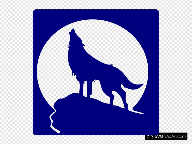 Blue Wolf Silhouette To The Moon Clip art, Icon and SVG.