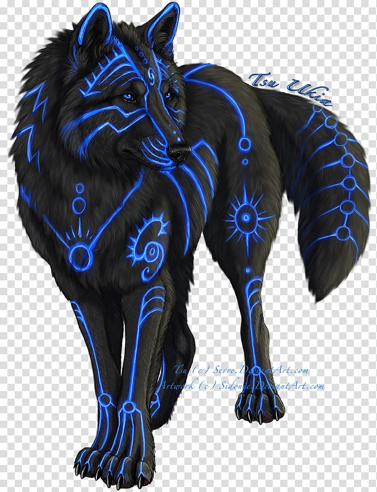 Gray wolf Drawing Fantasy, BLUE WOLF transparent background.
