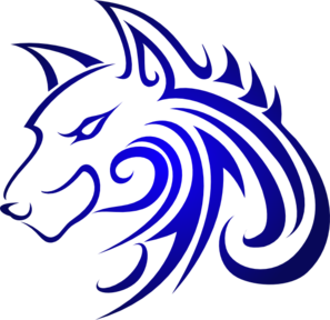 Blue Wolf Silhouette.