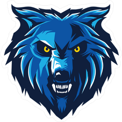 Blue Wolf Logo Mascot Sticker.