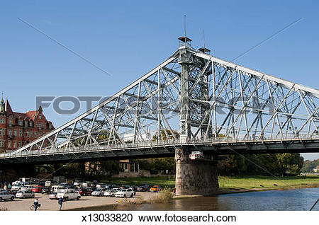 Stock Photography of Blue Wonder Bridge Elbe River Dresden Germany.