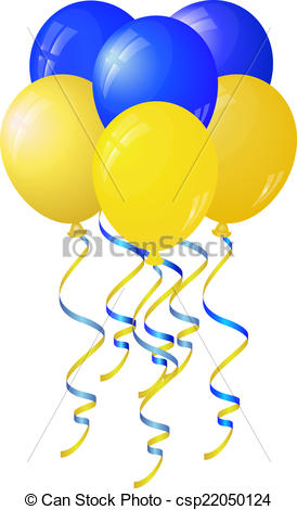 Blue and yellow balloons clipart.