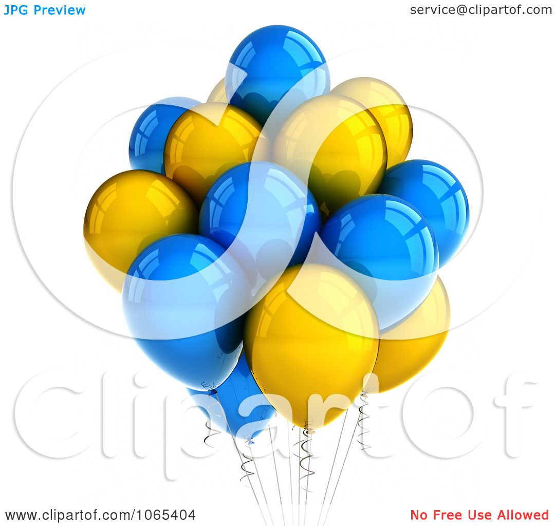 Clipart 3d Yellow And Blue Helium Party Balloons.