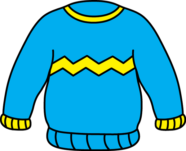 Blue and Yellow Zig Zag Sweater Clip Art.
