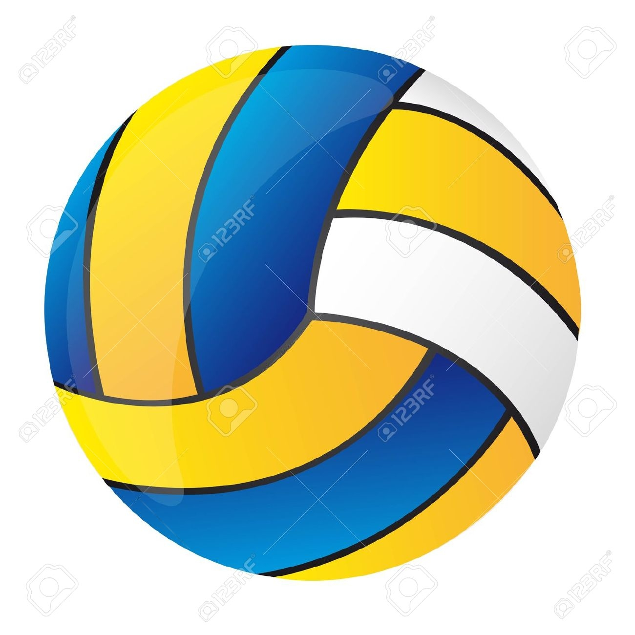 Blue And White Volleyball Clipart.