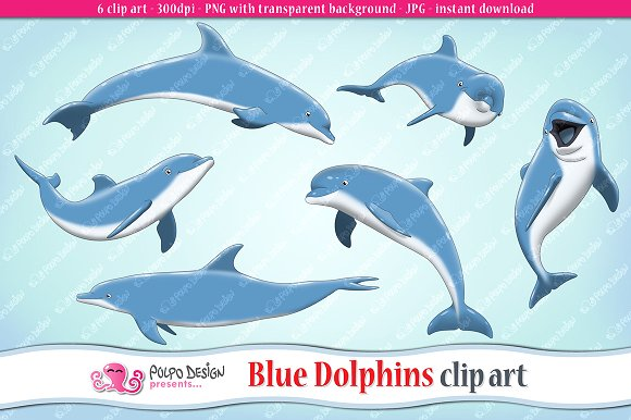 Blue Dolphins clip art ~ Objects on Creative Market.