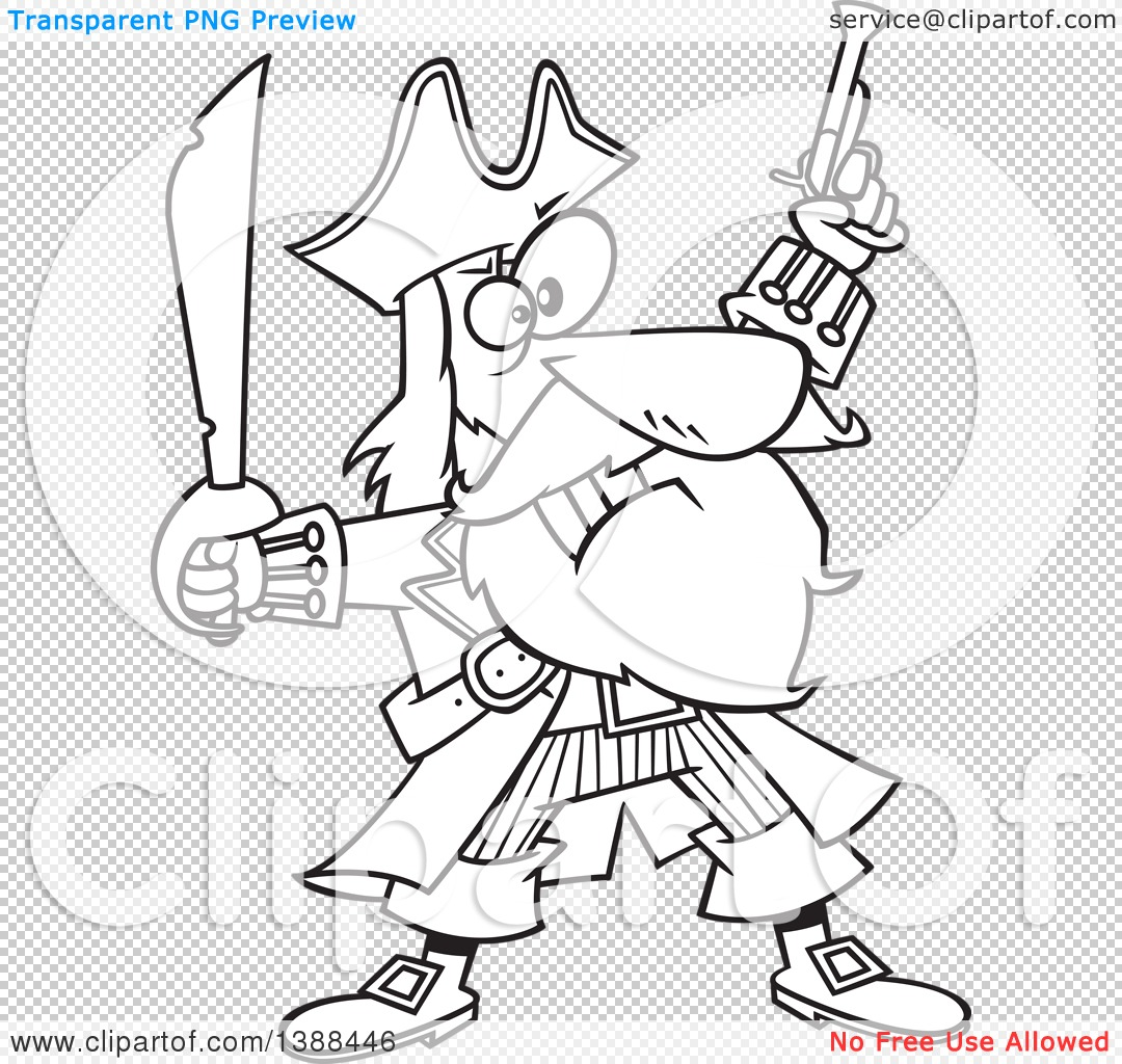 Clipart of a Cartoon Black and White Lineart Pirate Captain.
