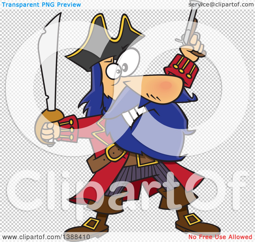 Clipart of a Cartoon Pirate Captain, Bluebeard, Holding up a Sword.