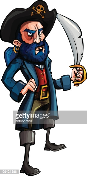 Bluebeard The Pirate Vector Art.