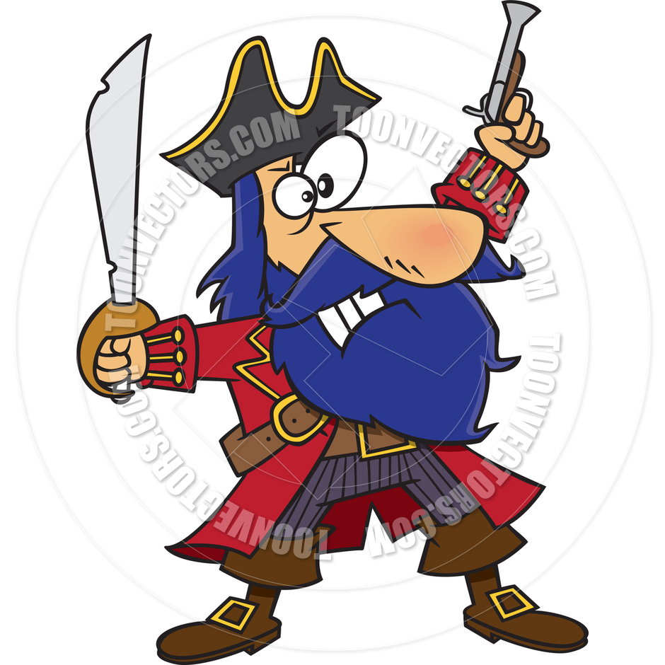 Cartoon Bluebeard Pirate by Ron Leishman.