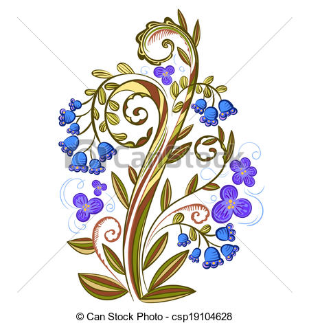 Vector Illustration of Decorative floral colored pattern with.