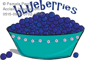 Clip Art Illustration of a Bowl of Blueberries.