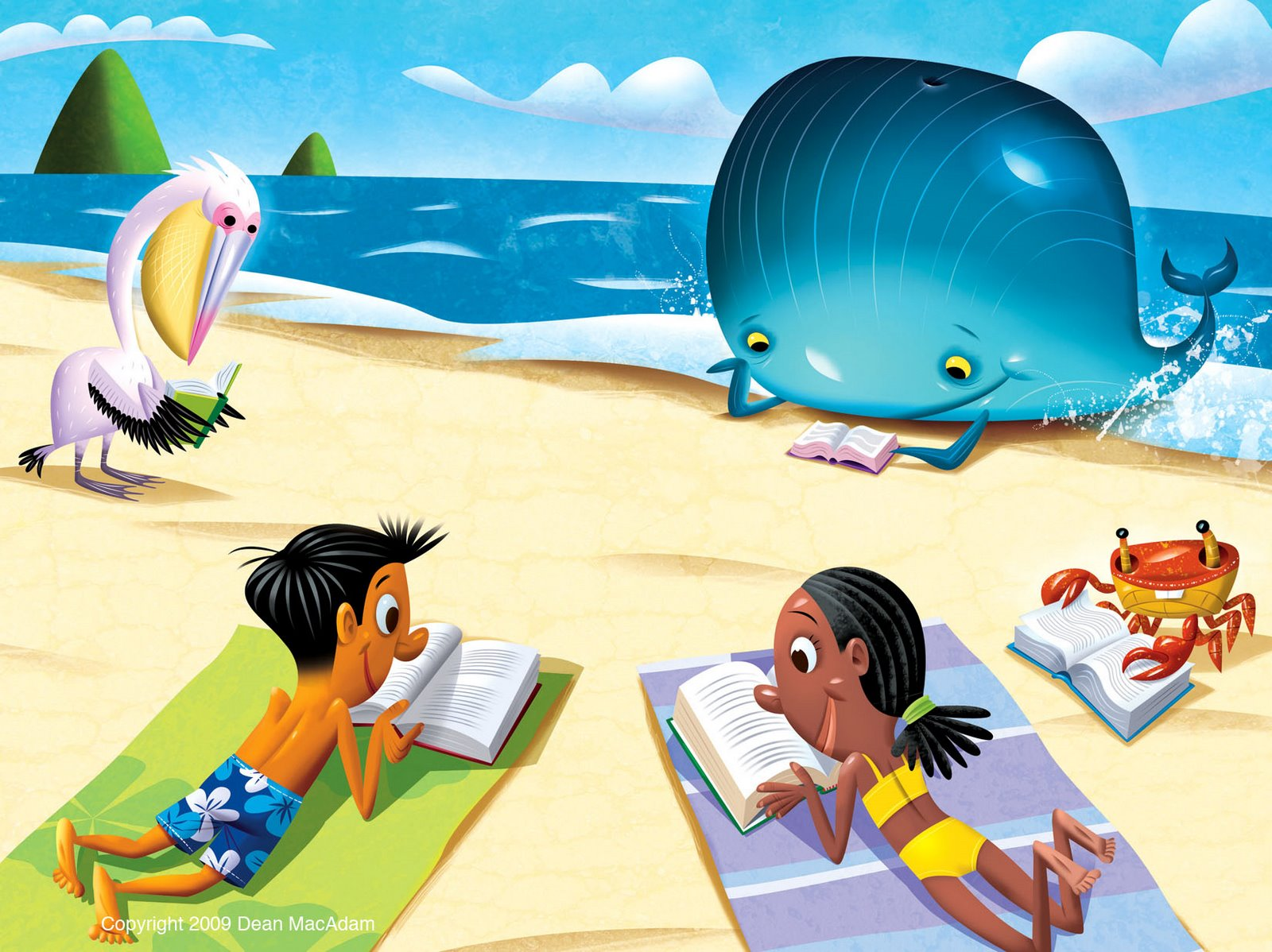 Reading on the beach clipart.