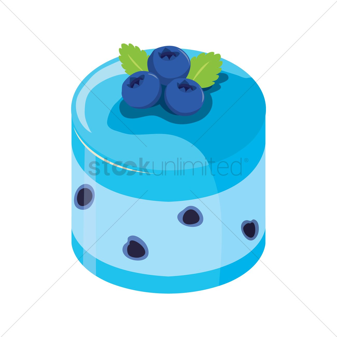 Blueberry cake Vector Image.