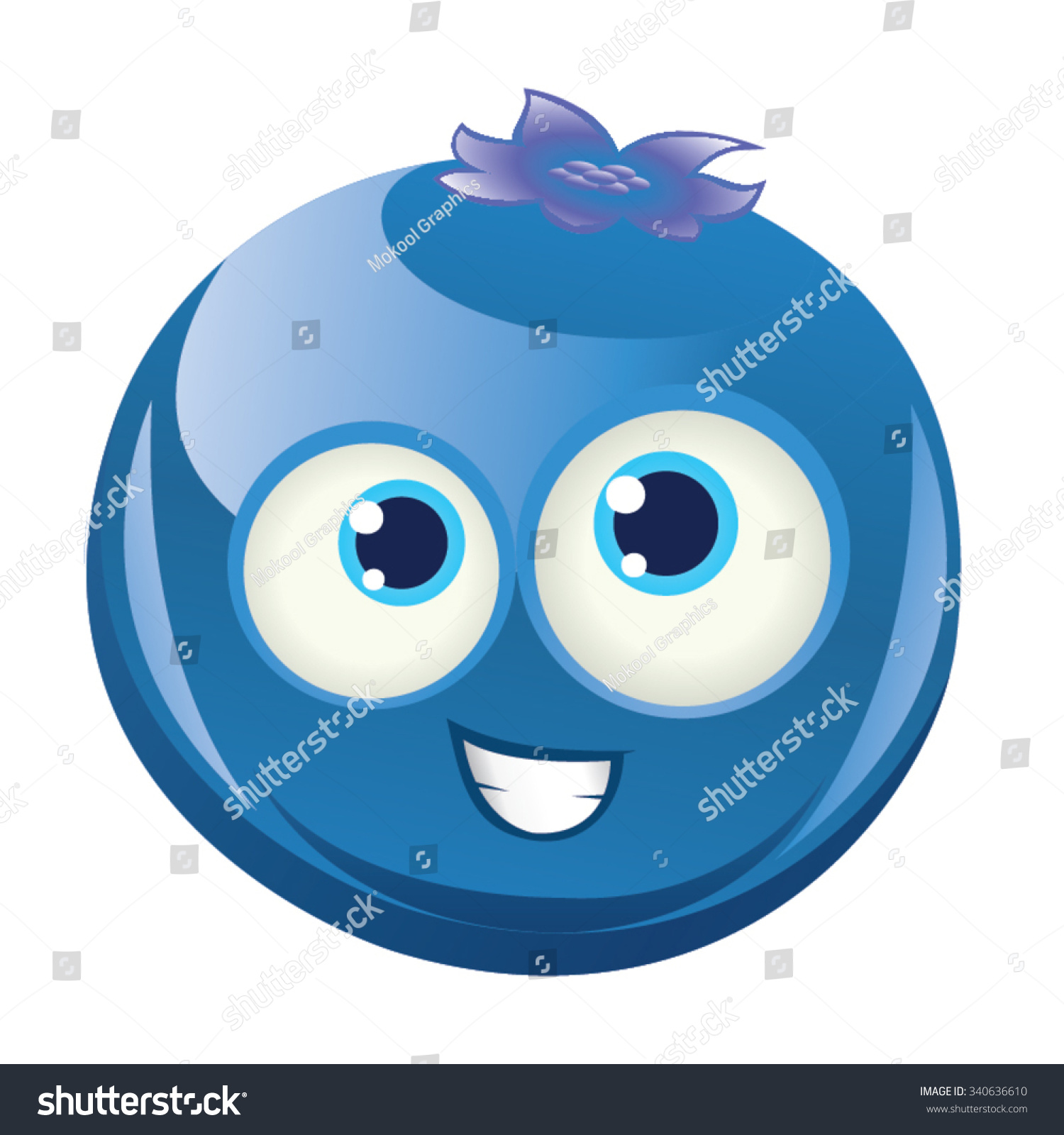 Blueberry Smiling Happy Face Blue Round Stock Vector (Royalty Free.