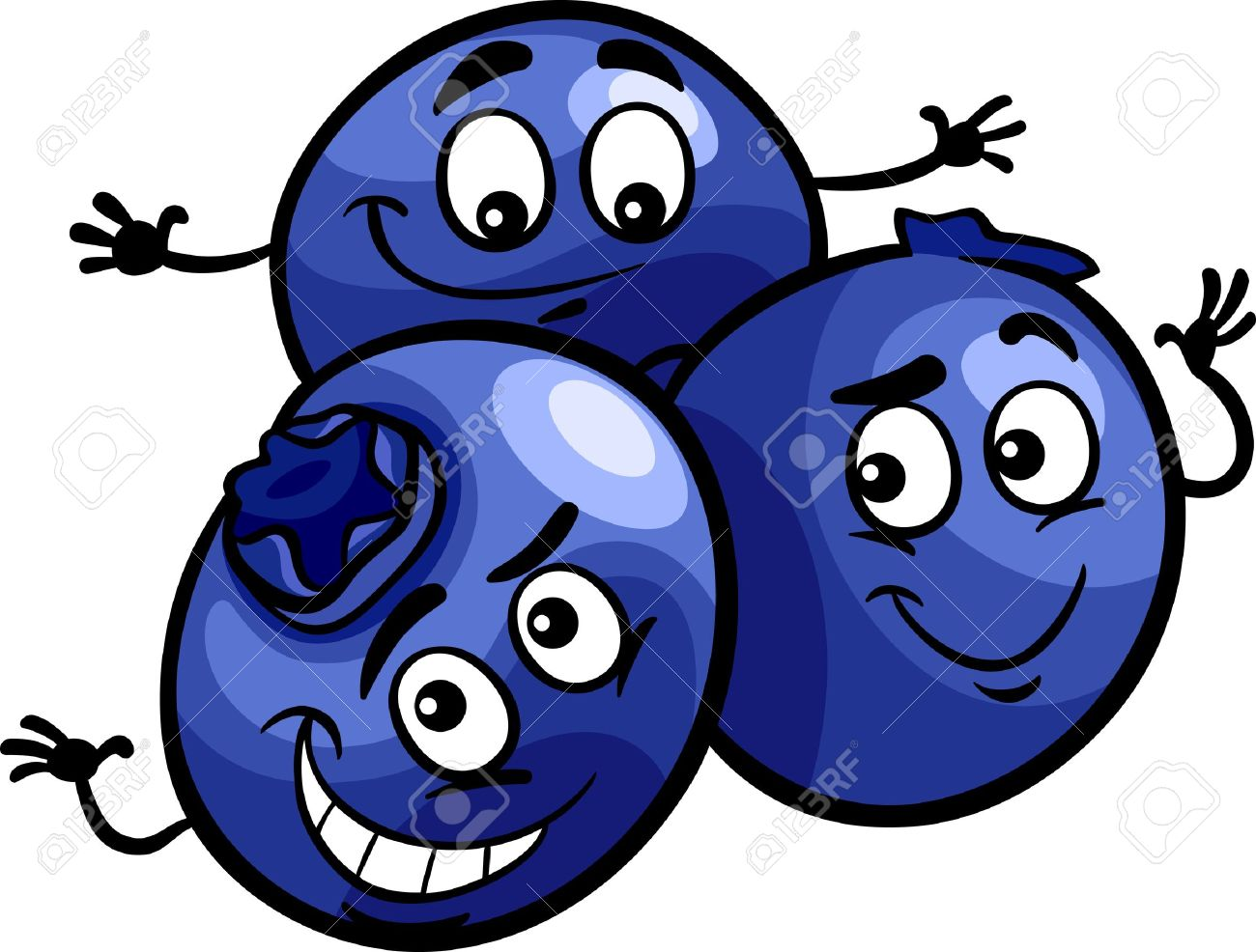 Cartoon Illustration of Funny Blueberry Berry Fruits Food Comic...