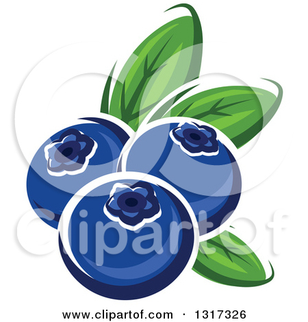 Clipart of Cartoon Blueberries.