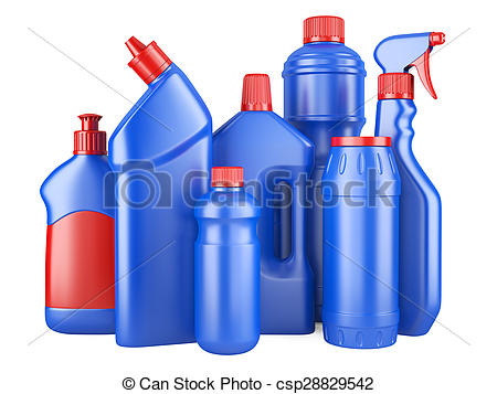 Drawing of Set of blue bottles with detergents. 3d image isolated.