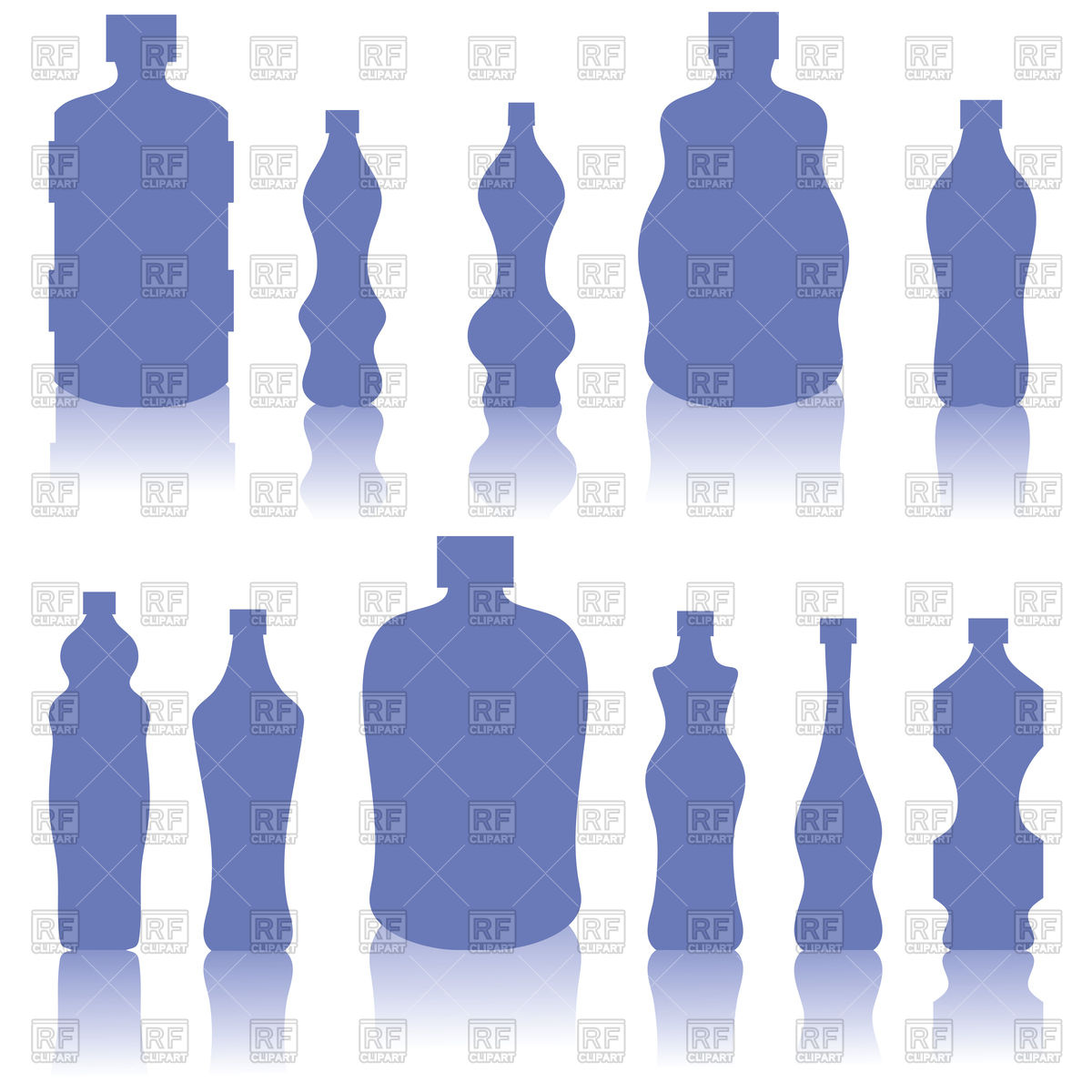 Set of blue bottles silhouettes Vector Image #101080.