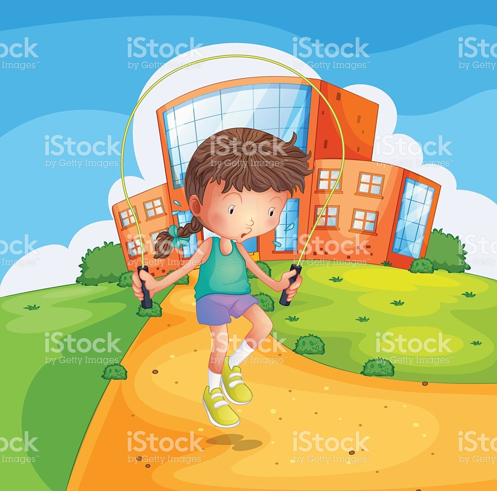 Young Girl Playing At The School Ground stock vector art 472335935.