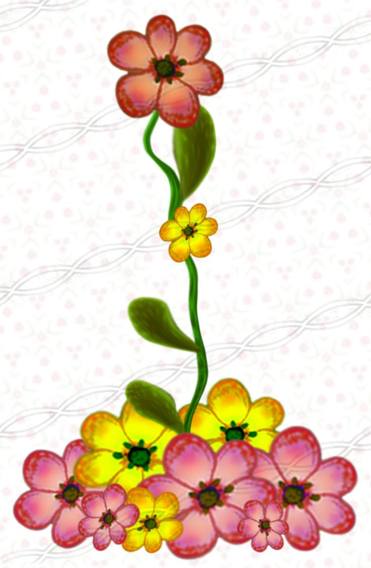 Pink Yellow flower clipart, digital set of frames, borders.