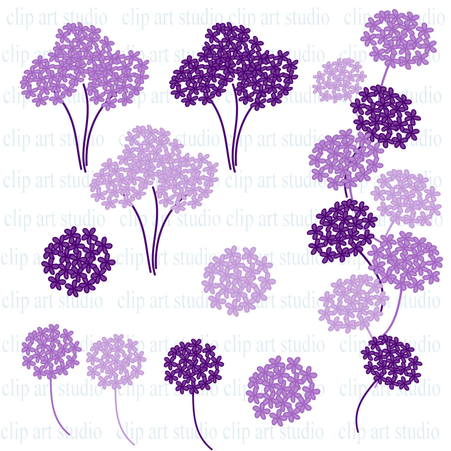 10 Hydrangea Clip Art in Purple Flower graphics Clipart for by.