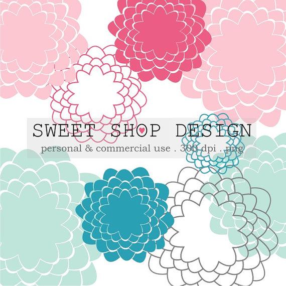 Flower Clip Art, Floral Clip Art, Wedding Clip Art, Royalty Free.