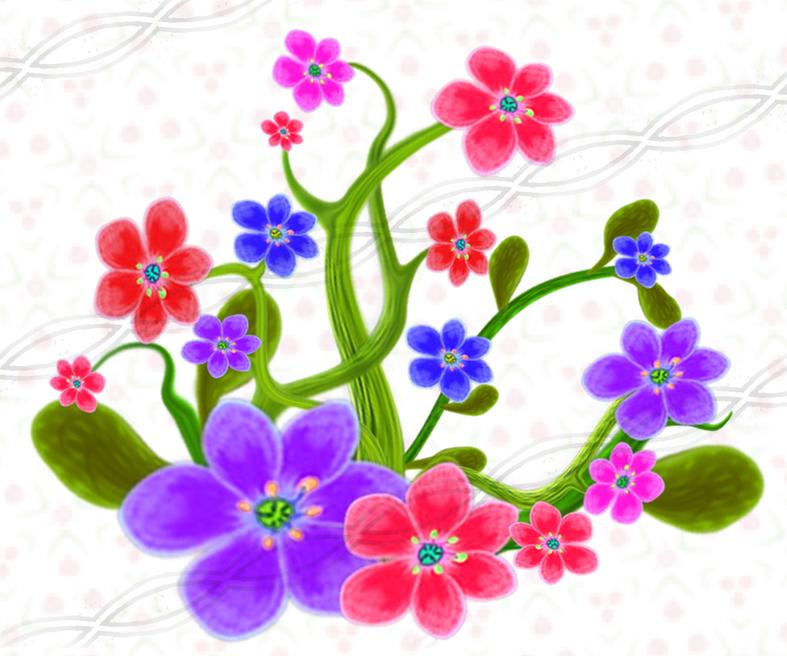 Pixel png floral plants set with transparent background, flower.