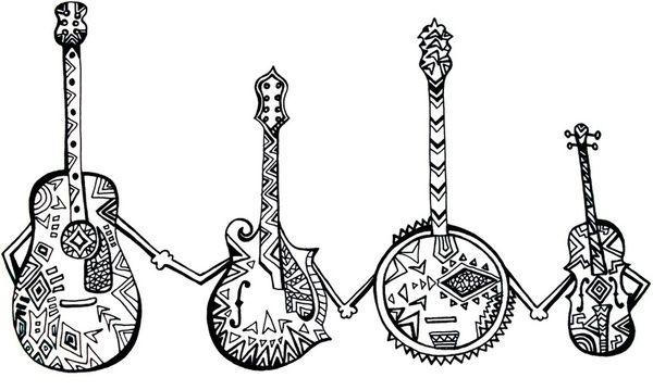 Bluegrass Instruments Art Friends Print Clipart.