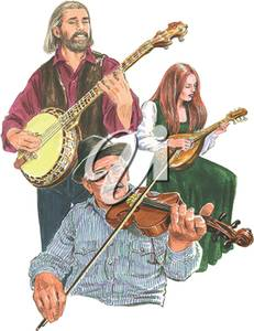Clipart Illustration of a Bluegrass Band.