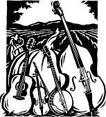 Bluegrass instruments clipart.