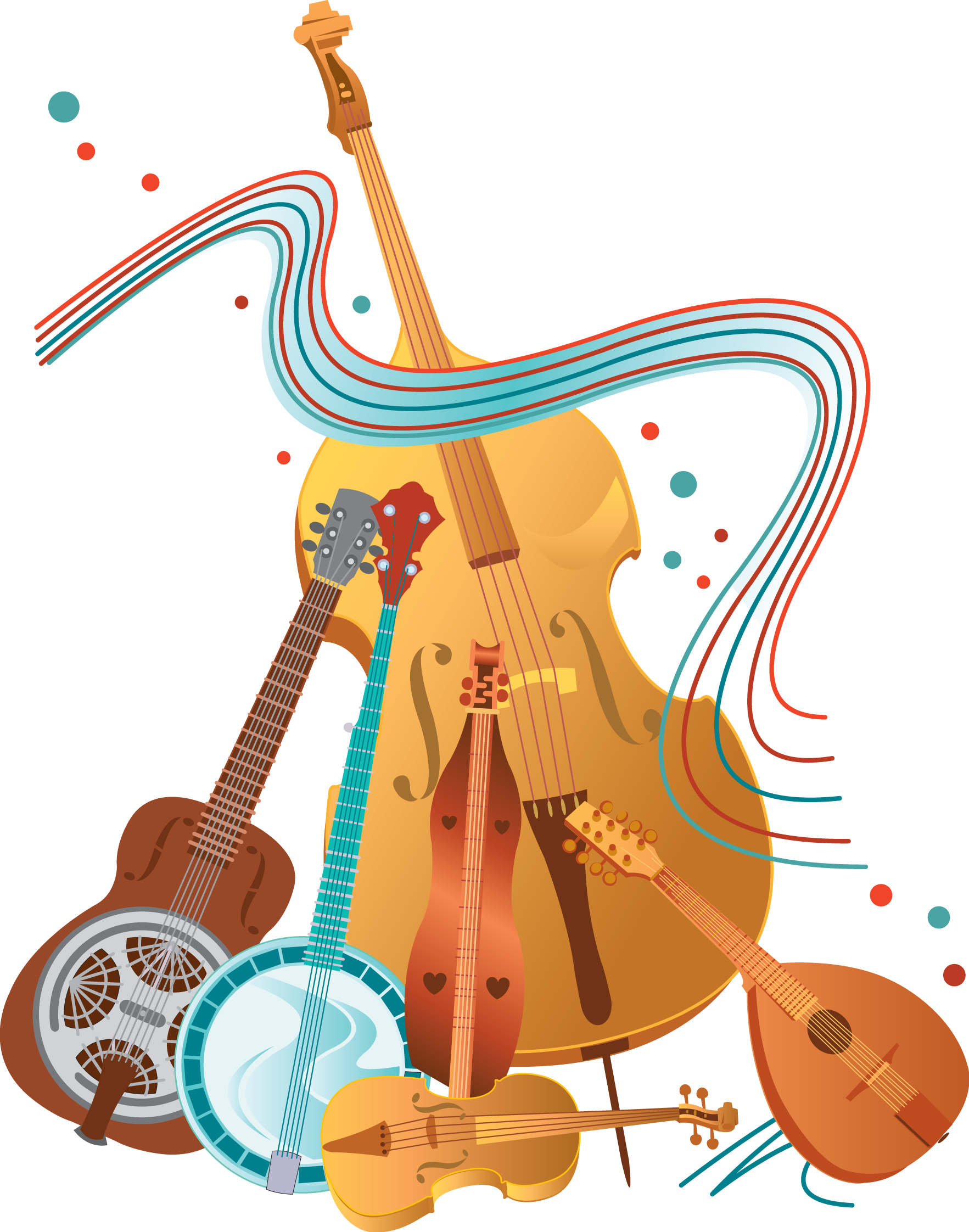 Bluegrass Instruments Clip Art free image.