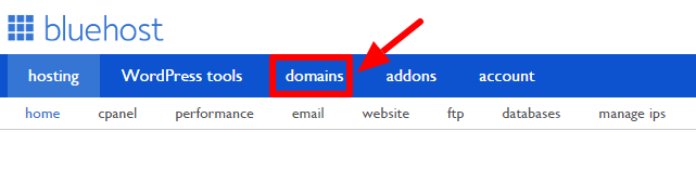 Bluehost Domains.