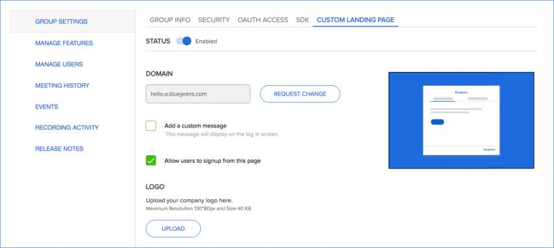 Custom Landing Page.