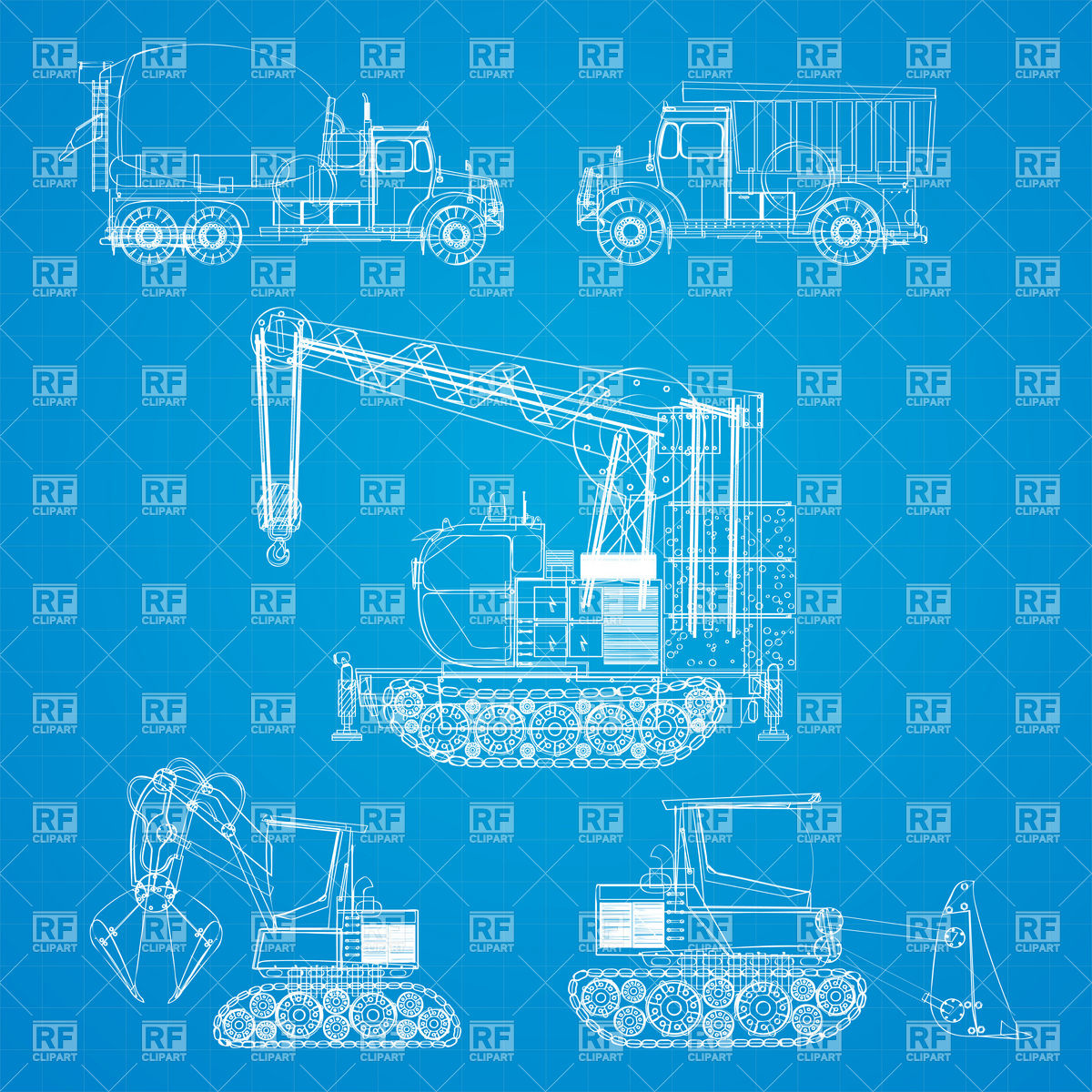 Construction vehicles blueprint Stock Vector Image.