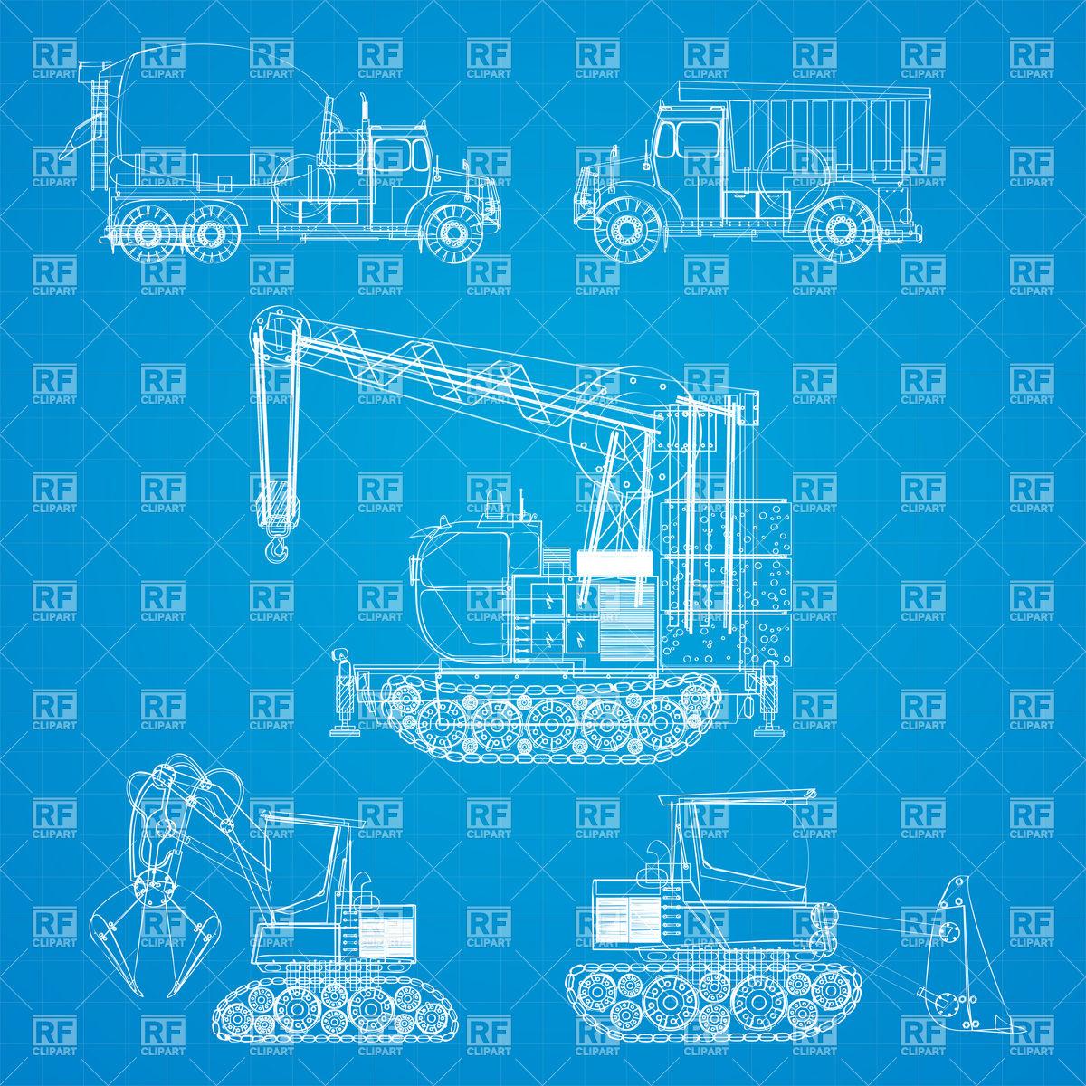 Construction vehicles blueprint Stock Vector Image.
