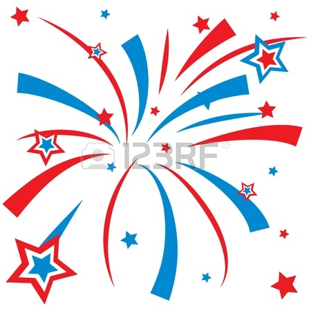 Red white and blue firework clipart.