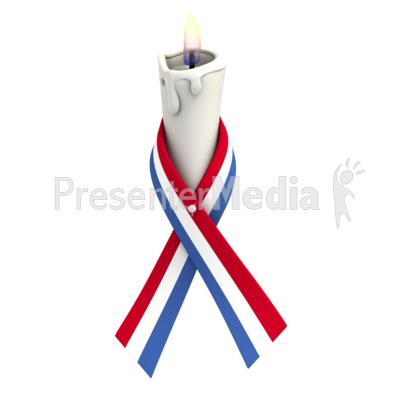 Red White Blue Ribbon Candle.