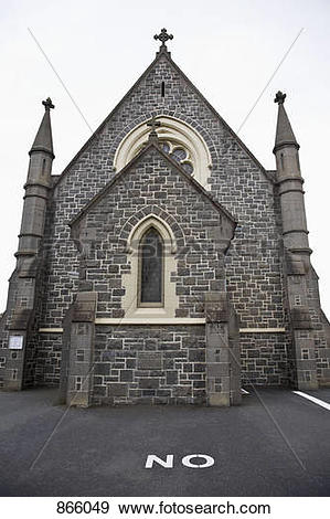 Stock Photograph of A bluestone church, Melbourne, Victoria.
