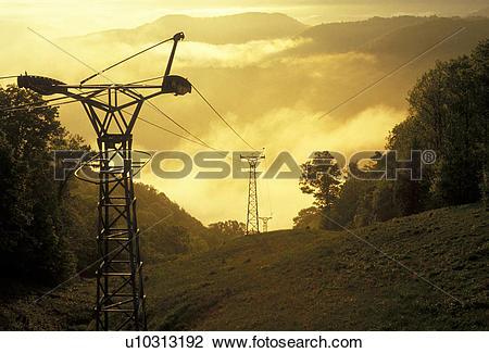 Stock Photo of skylift, power line, West Virginia, Bluestone River.