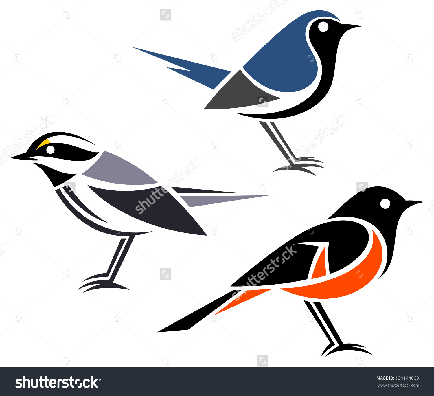 Stylized Birds Blackthroated Gray Warbler Blackthroated Stock.