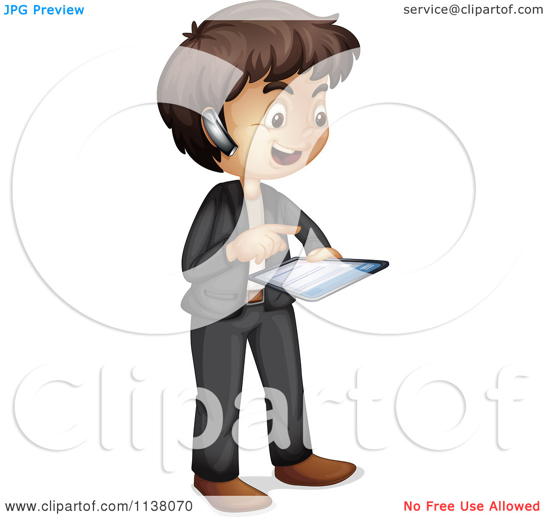 Cartoon Of A Businessman Using A Bluetooth Headset And Tablet.